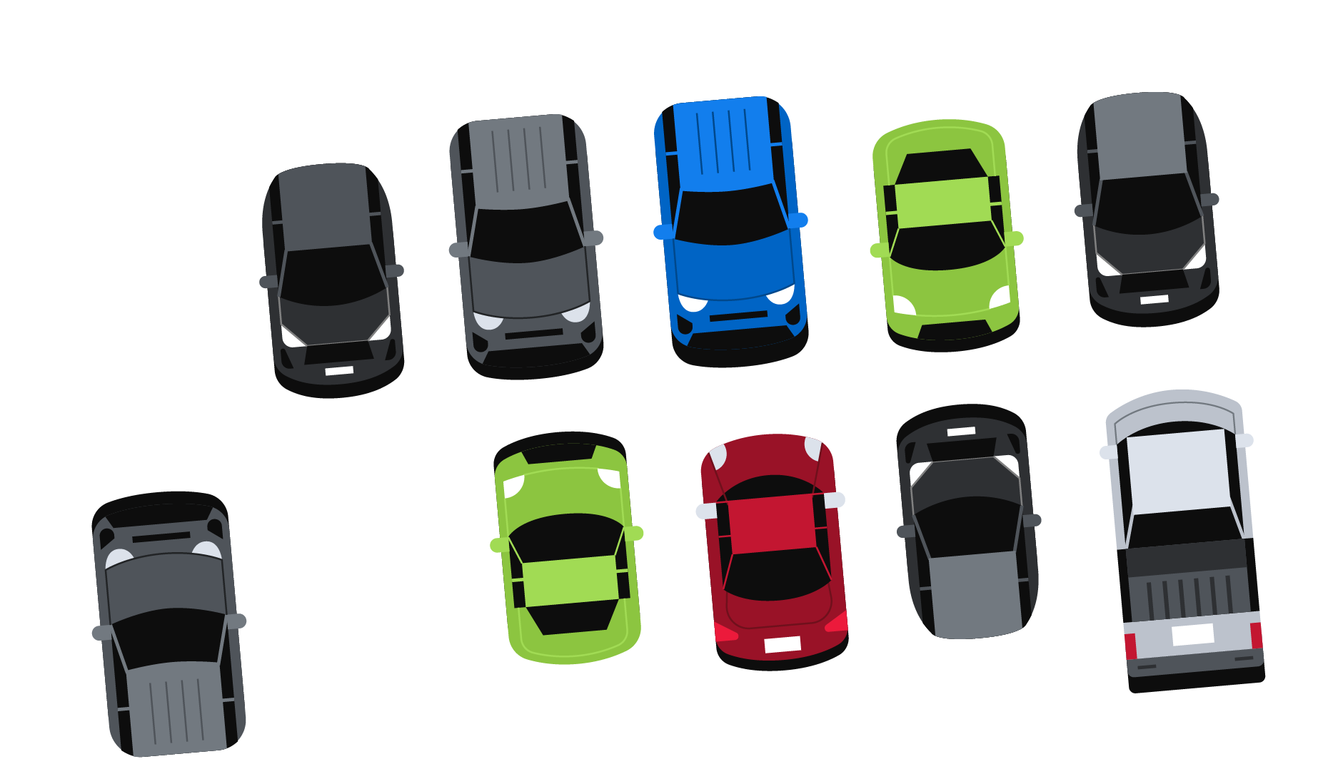 Illustration of cars in a parking lot