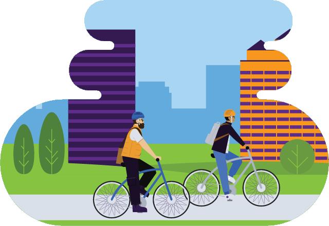 Two people biking in a city greener commute illustration