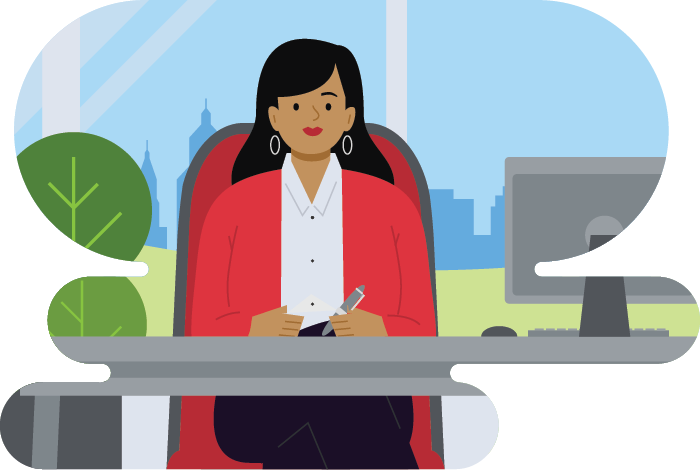 Woman in business casual working in front of a window with a cityscape in the background illustration