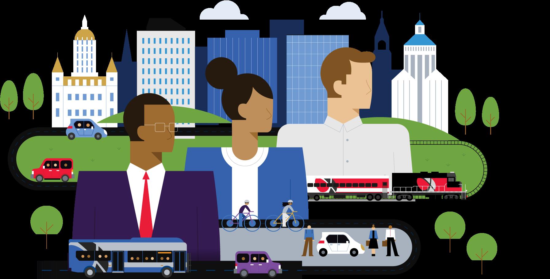 Transportation Leaders illustration for greener commutes