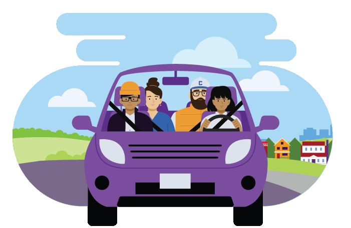 Carpool greener commute illustration