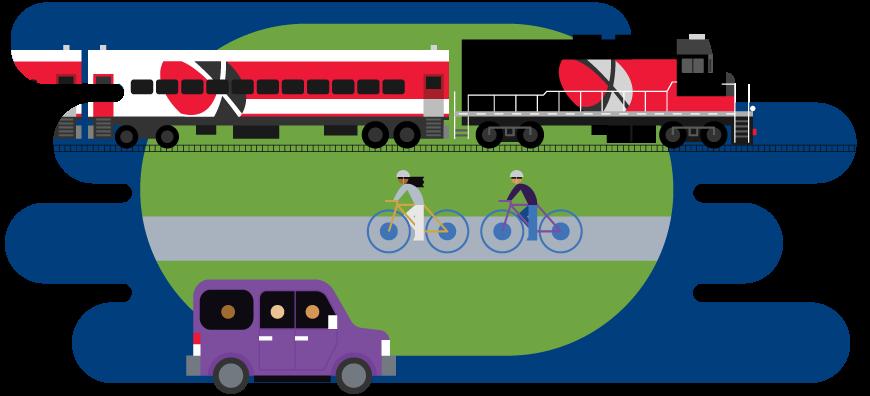 Greener commute options illustrations Train Public Transit Bike Carpool