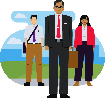 2 men and one women wearing business clothes illustration