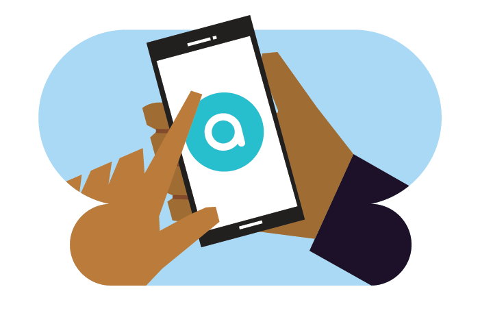 Illustration of hand holding a smartphone loading Aira app
